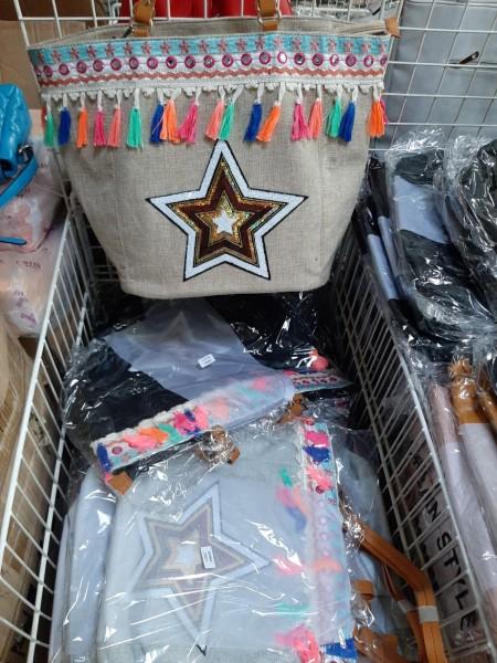 Fashion Sommertasche Stern mit Bommeln und Glitzerstern